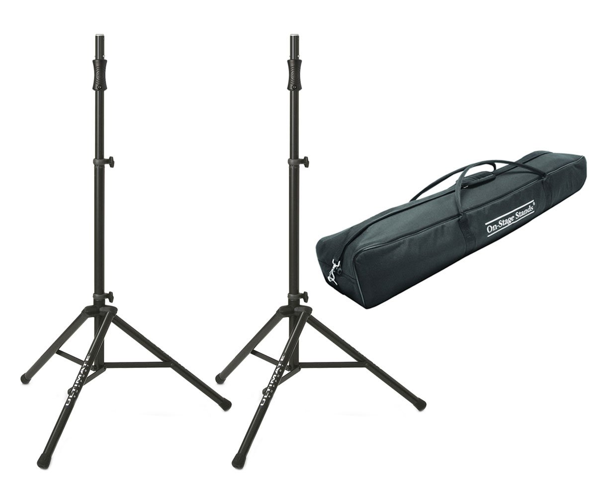 2x Ultimate TS-100B Aluminum Tripod Speaker Stand + Stand Pair Carry Bag