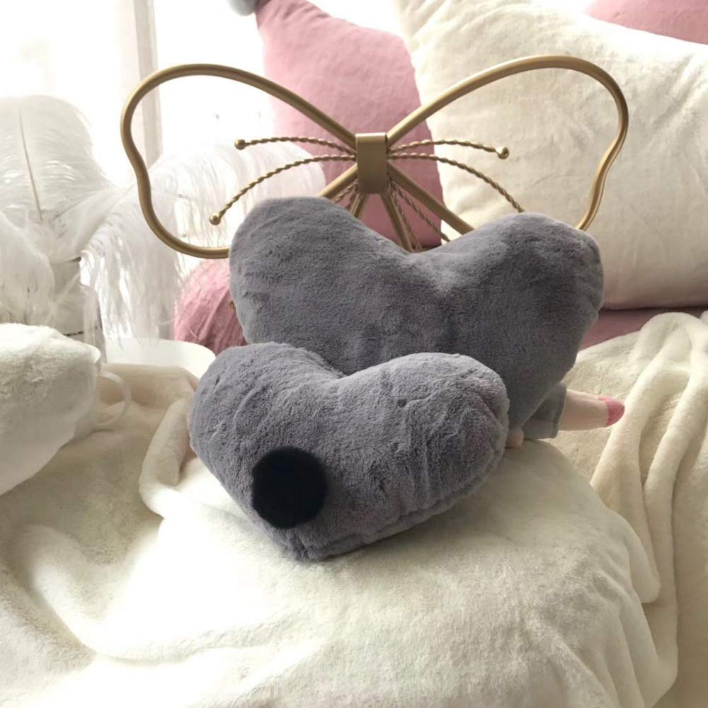 FASTCXV Ins Nordic Rabbit Fur Solid Color Cushion Star Moon Five-Pointed Star Love Sofa Decoration Pillow Bed Cushion mm Gray Small Love About 2030 can not be Detached by FASTCXV