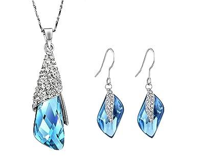 Memory JewelleryR Swarovski Element Blue Crystal NECKLACE EARRING JEWELLERY SET BIRTHDAY GIFT For Women Her Amazoncouk Jewellery