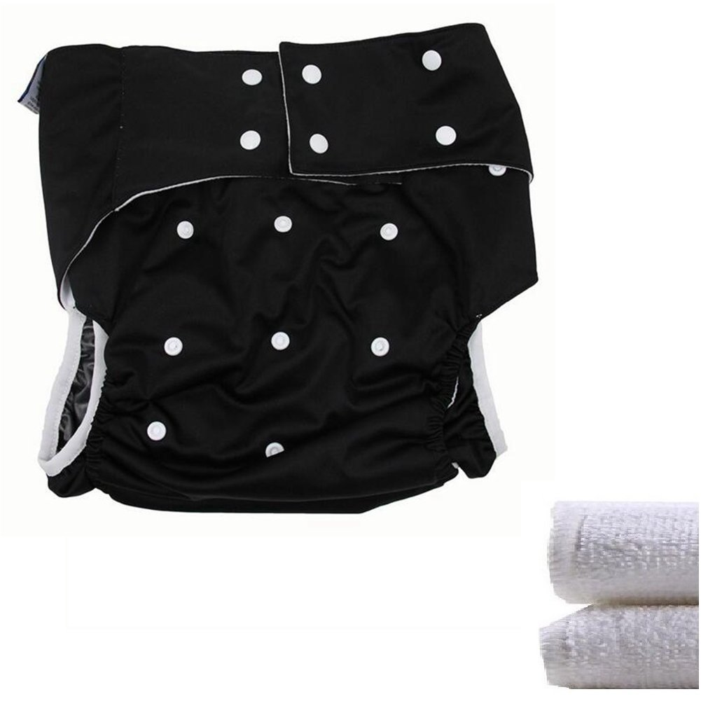 LukLoy - Teen/Adults Cloth Diapers Nappy with 2pcs Inserts for Incontinence Care -Dual Opening Pocket Washable Adjustable Reusable Leakfree (Black) by LukLoy