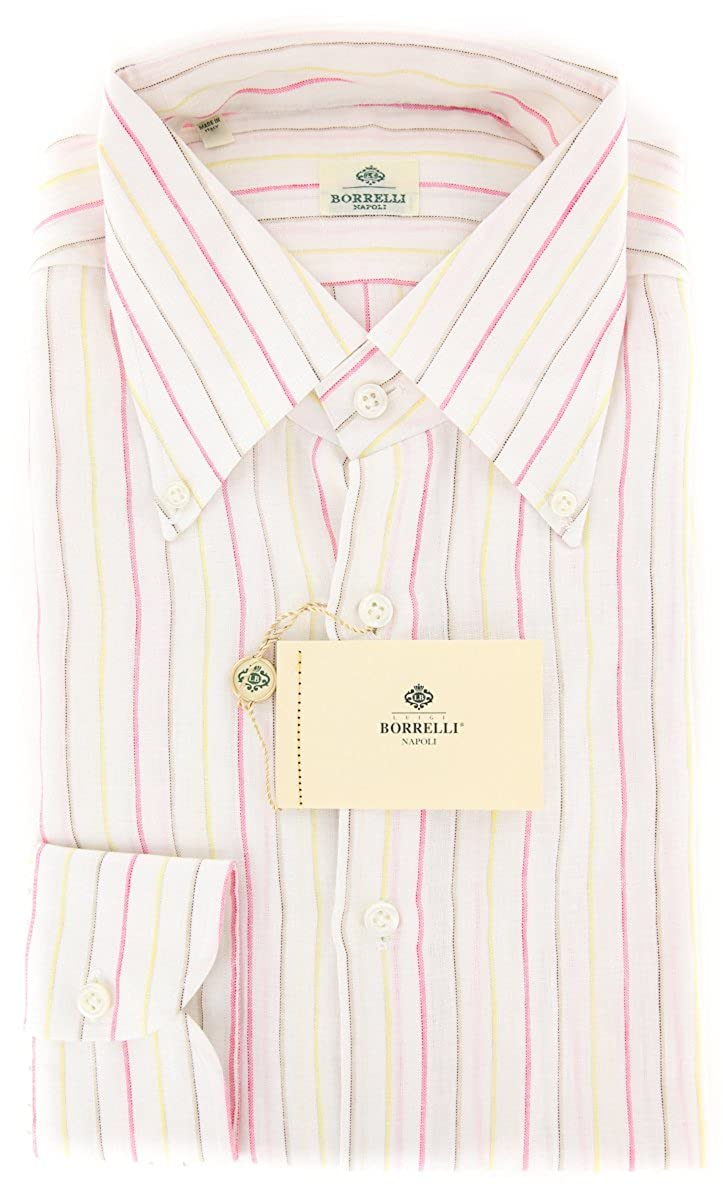 Luigi Borrelli Pink Stripes Button-Down Collar Linen Slim Fit Dress Shirt Size Small 15.5