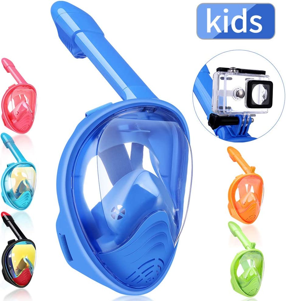 Snorkeling Mask for Adults and Kids with Detachable Camera Mount,180 Degree Large View Dry Top Set Anti-Fog Anti-Leak Full Face Snorkel Mask