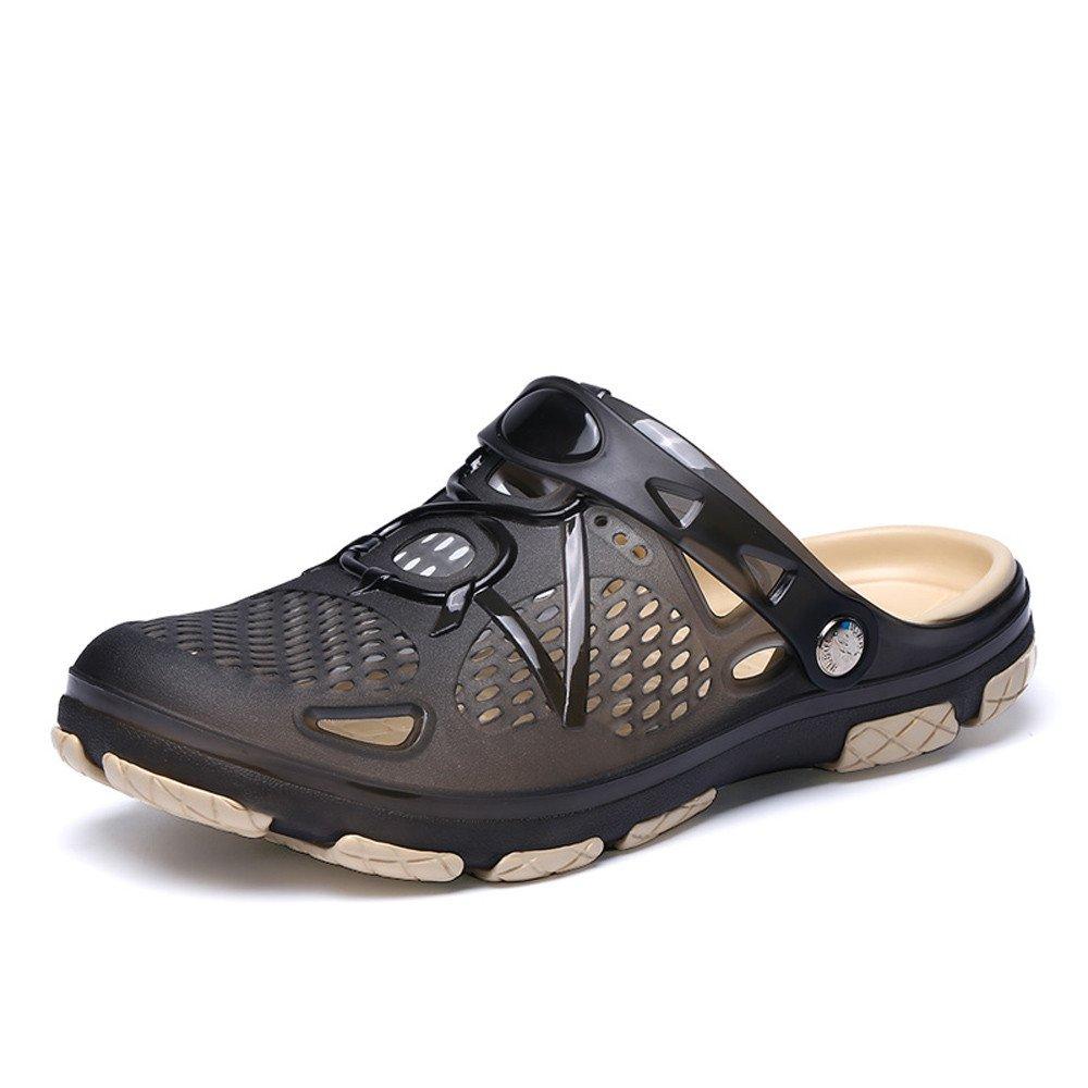 HAALIFE◕‿ Men's Garden Clogs Anti-Slip Beach Shower Sandals Slip on Massage Outdoor Walking Summer Slippers for Men Black