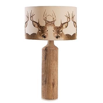Tischlampe Hirsch Natur Braun Beige Modern Design Holz 45 Cm Amazon