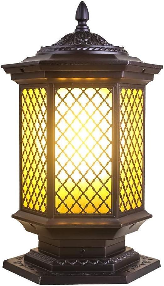 Exterior lámpara LED estigma luz luminaria puerta exterior Pilar linterna jardín columna lámpara aluminio jardín Villa paisaje decoración E27 impermeable lámpara de mesa calle luz [Energy clase A]: Amazon.es: Hogar