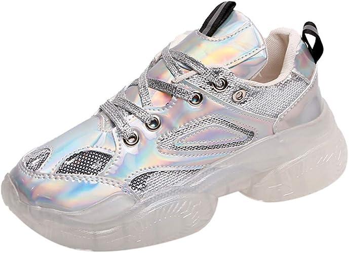 Zapatillas de Deporte para Mujer, con Cordones y Suela Gruesa, Puntera Redonda, para Uso al Aire Libre, para Correr por Carretera, Estilo Retro, Color Plateado, Talla 40 EU: Amazon.es: Zapatos y complementos