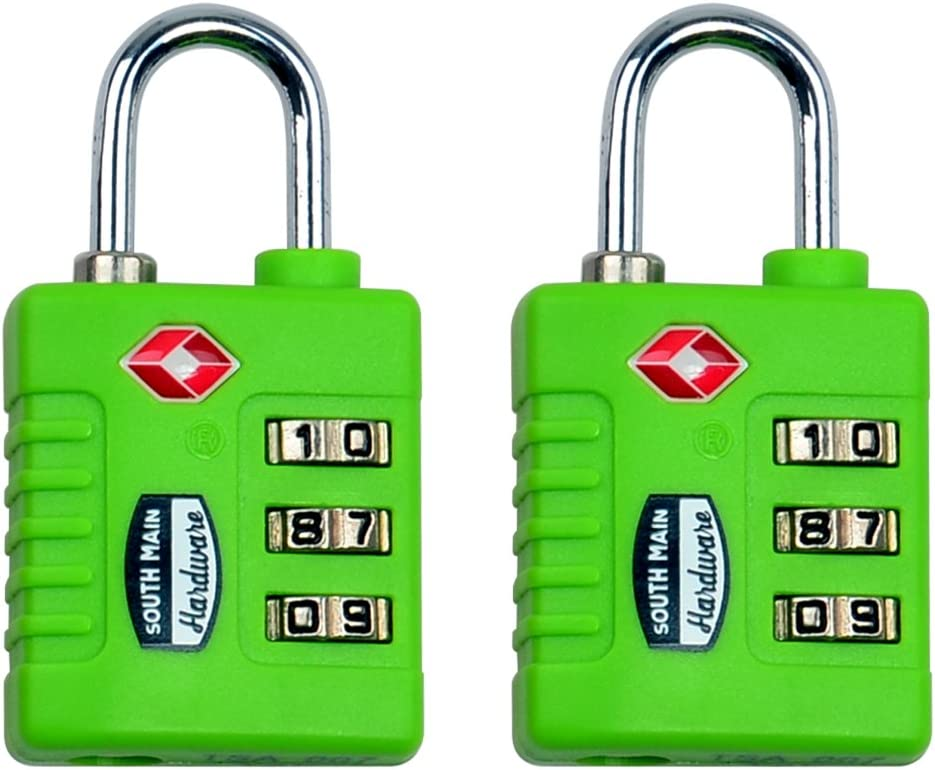 South Main Hardware 810109 TSA-Accepted Resettable Luggage Lock Pink 2 Pack