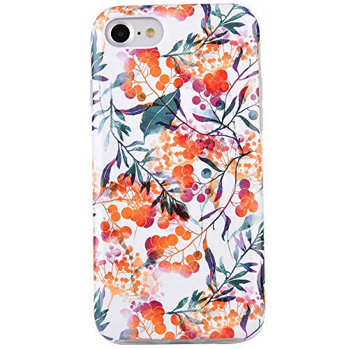 Dimaka Case for iPhone 7 Case, iPhone 8 Case for Girls, Cute Floral Leef Flower Pattern Protective Case, 2 Layer Hybrid Drop Proof Cover [Retro Design] for iPhone 7 and 8 (112)