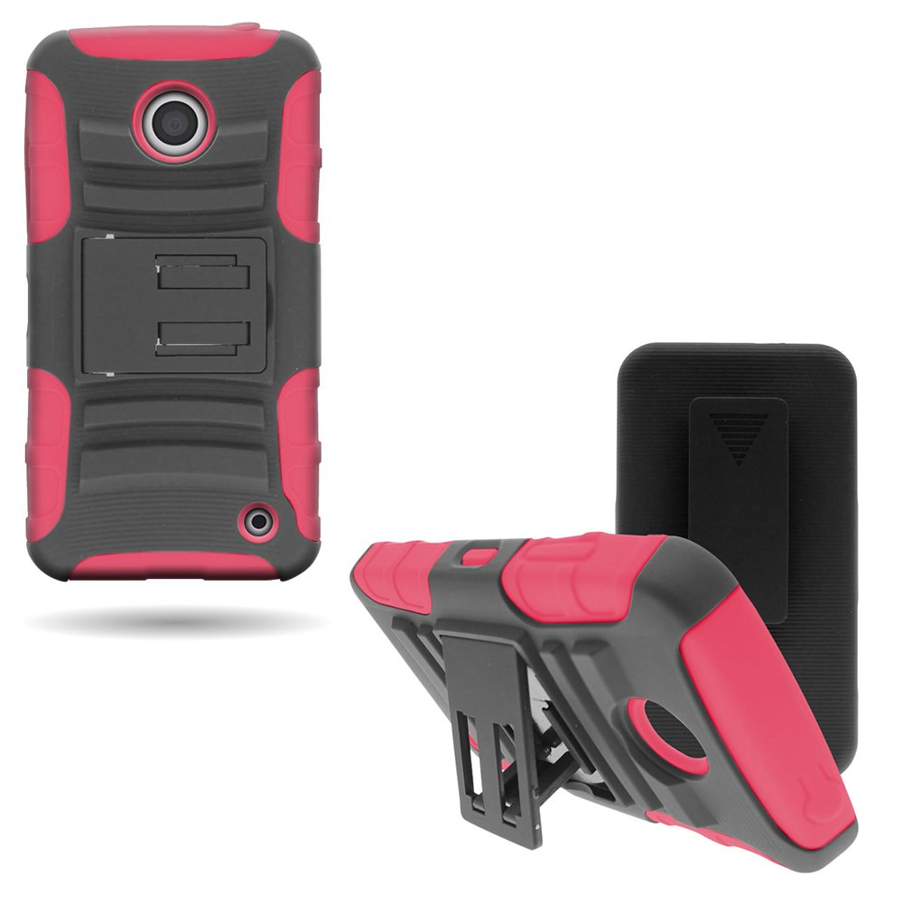 CoverON Hybrid Heavy Duty Case with Hard Kickstand Belt Clip Holster for Nokia Lumia 635 - Black Hard Plastic + Hot Pink Soft Silicone