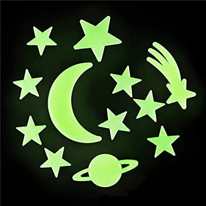 Kicko Glow In The Dark Stars Stickers Pack Of 12 Adhesive Solar System Room And Ceiling Stargazing Decals Sun Star Moon Comets Planets Kids