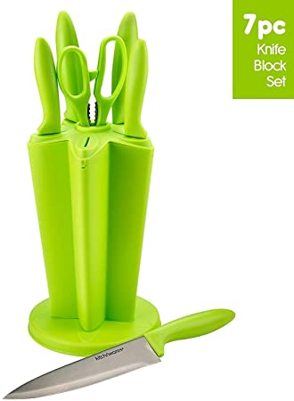 Shri & Sam Knife Block Set, 7-Pieces, Green Kitchen Knives at amazon
