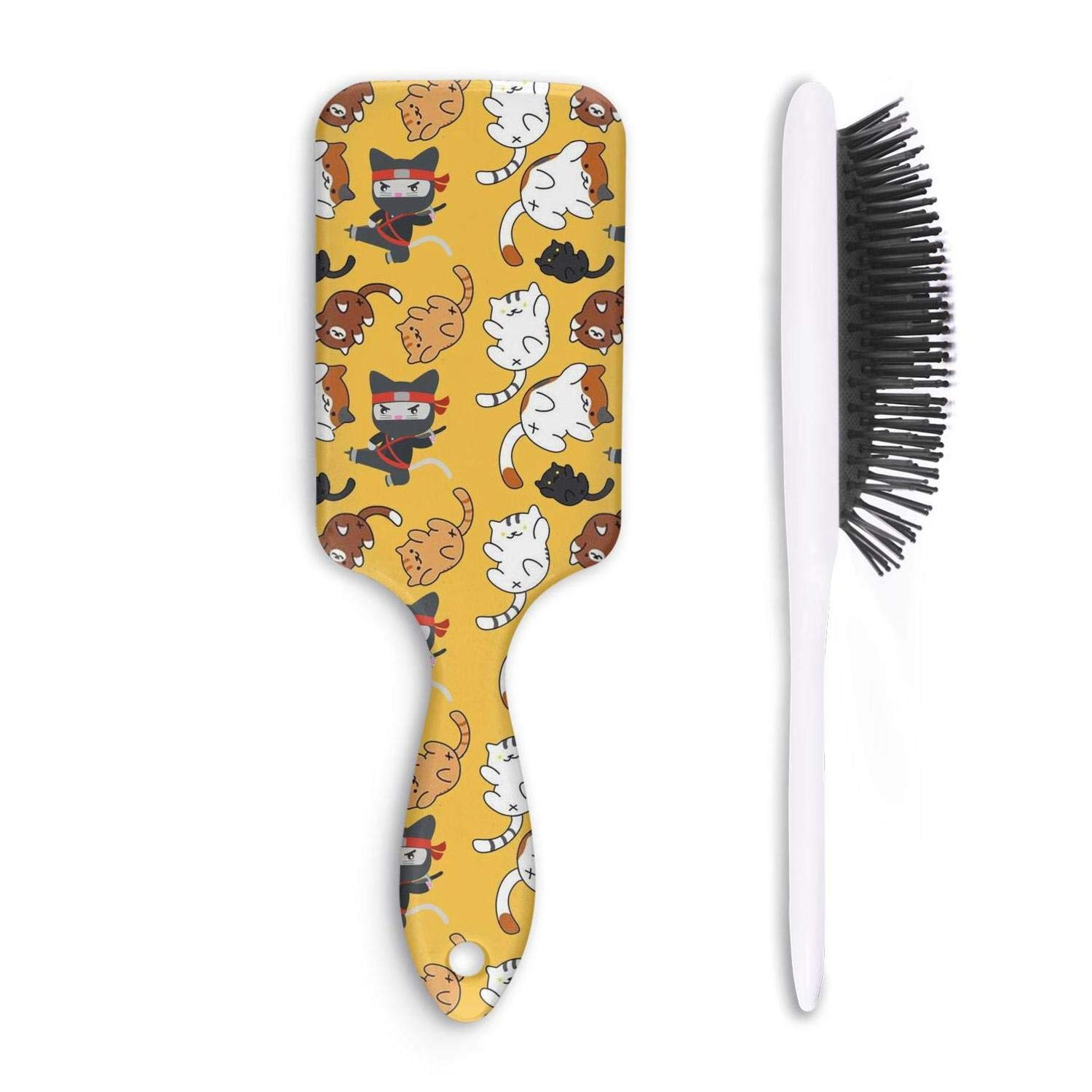 Amazon.com : Hair Brush Yellow Ninja Stars And cats ...