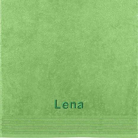 Erwin Müller Toalla con nombres Lena bordado, verde lima, 50 x 100 cm