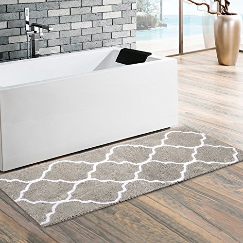 Long Mat (HEBE Extra Long Bathroom Runner Rug Microfiber Non-slip Absorbent Bath Runner Mat Kitchen Rug Runner Washable 17.72 by 47.24 Inch(Grey))