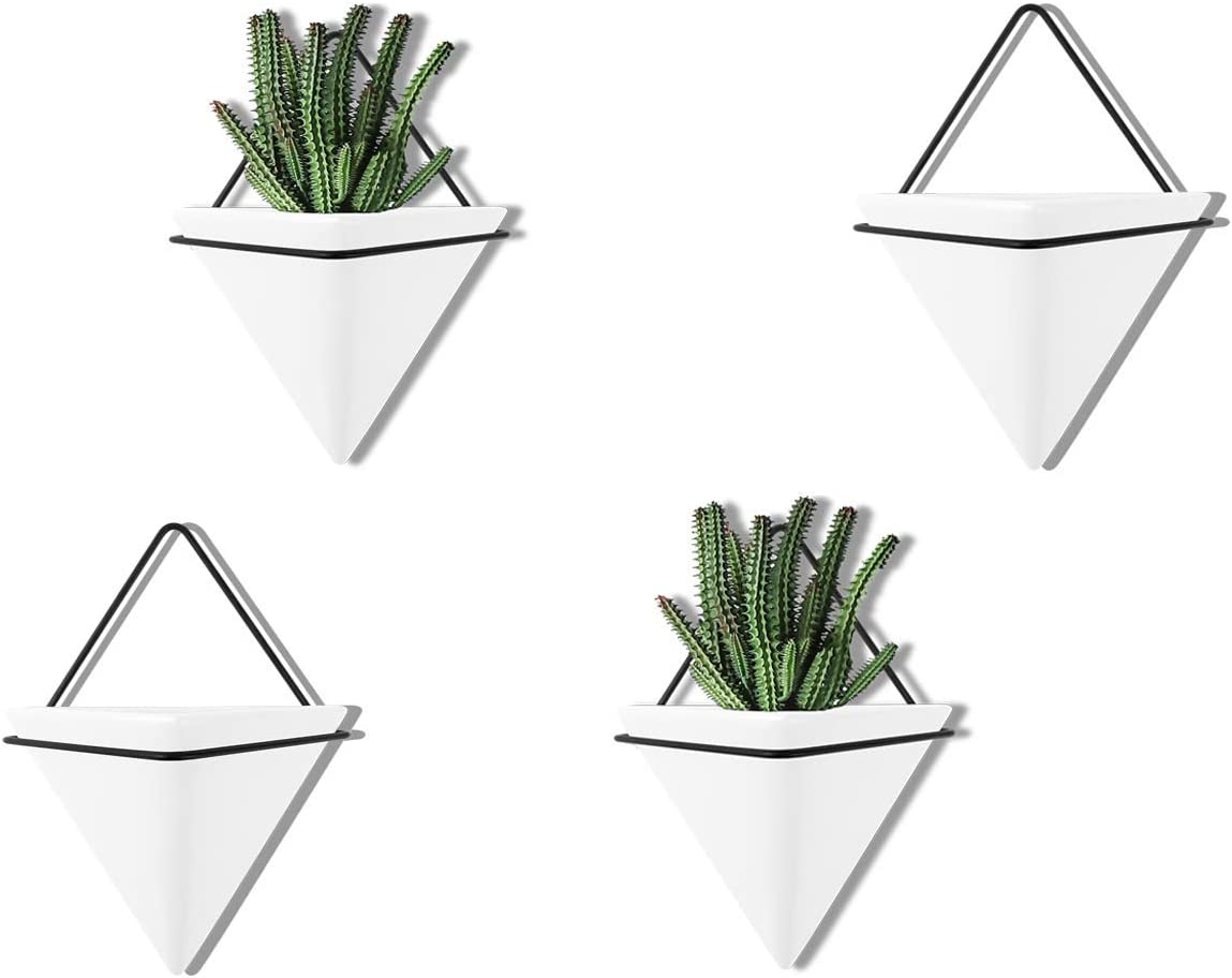 PUDDING CABIN 4 Set Small Wall Planter Geometric Wall Decor for Succulents Air, Mini Cactus, Faux Plants Indoor Home Decor