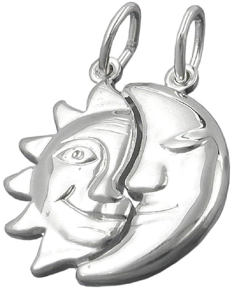 Unbespielt Kettenanhänger Silberanhänger für Halskette Unisex Sonne Mond glänzend Silber 21 x 19 mm inkl. kleiner Schmuckbox 466G92334312