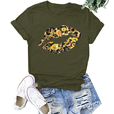 Winsummer Women Short Sleeve Sunflower T-Shirt Cute Funny Lips Graphic Tee Shirts Short Sleeve T Shirt Top: Clothing