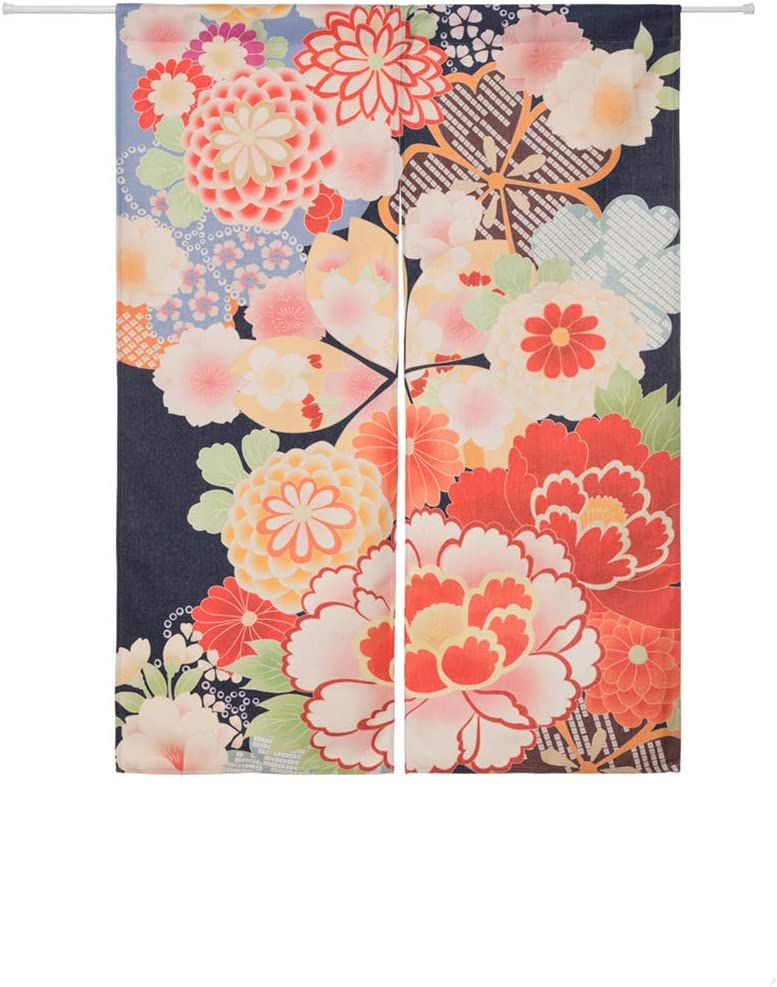 BAIHT HOME Cotton Linen Flower Printed Japanese Noren Doorway Curtain and Window Treatment Curtains 33.5 Width x 47.2 Long