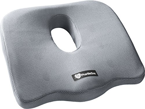 Coccyx Cut Out (PharMeDoc Orthopedic Coccyx Seat Cushion - Foam Tailbone Pillow Relieves Sciatica, Back, and Tailbone Pain - Use in A Car Seat, Office Chair, and at)