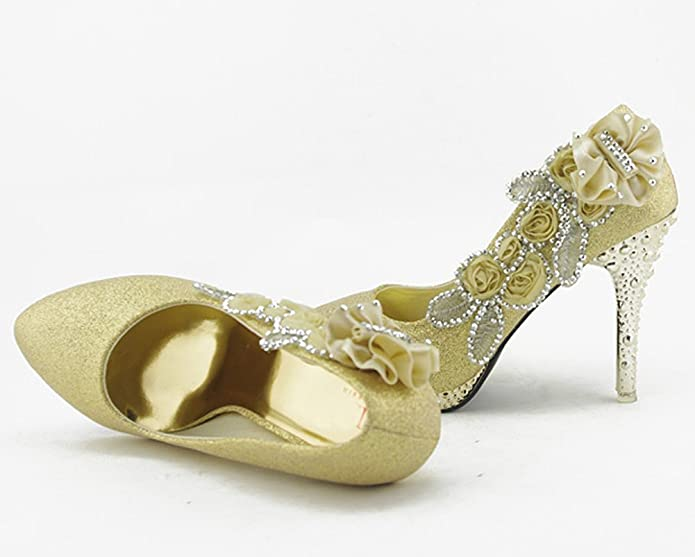 9a3b62779a123 Getmorebeauty Women s Lace Flower Pearls Closed Toes Prom Wedding Shoes   Amazon.co.uk  Shoes   Bags