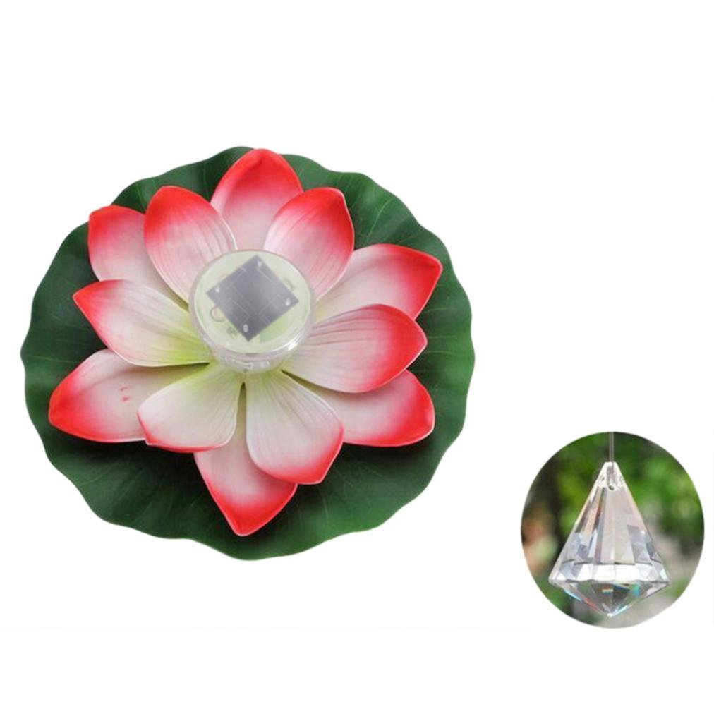 1 Pcs Solar Outdoor Floating Lotus Light Pool Pond Garden Water Flower LED Lamp by XILALU (White)