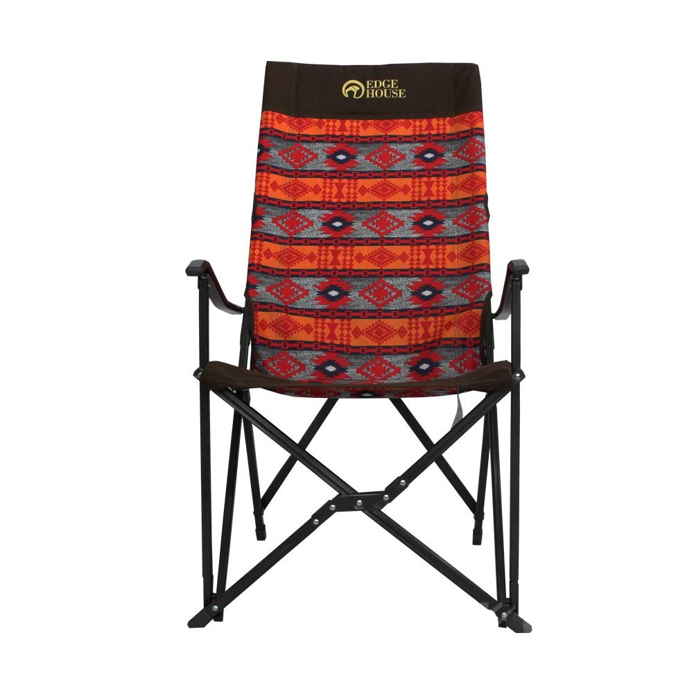 [EDGE HOUSE] High long two fold fabric Relax Chair Indian Pattern in Outdoor EHA-57 & Free Gift (Key Ring) (Orange&Red) by EDGE HOUSE (Image #3)