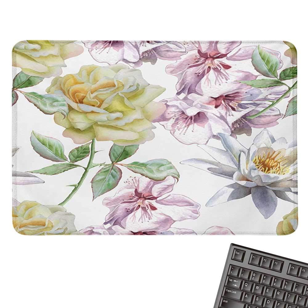 FloralOffice マウスパッド ロマンチック モダン 抽象的な花 アイビーの葉 花 つぼみ プリント 防水 マウスパッド 9.8インチx11.8インチ ベビーピンク ベビーブルー ペールグリーン 9.8