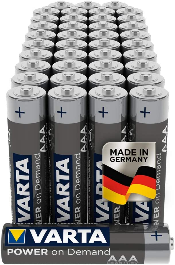 Varta, Pilas Alcalinas AAA/LR03/Micro (Pack de 40 Unidades, 1.5 V), AAA, Plata
