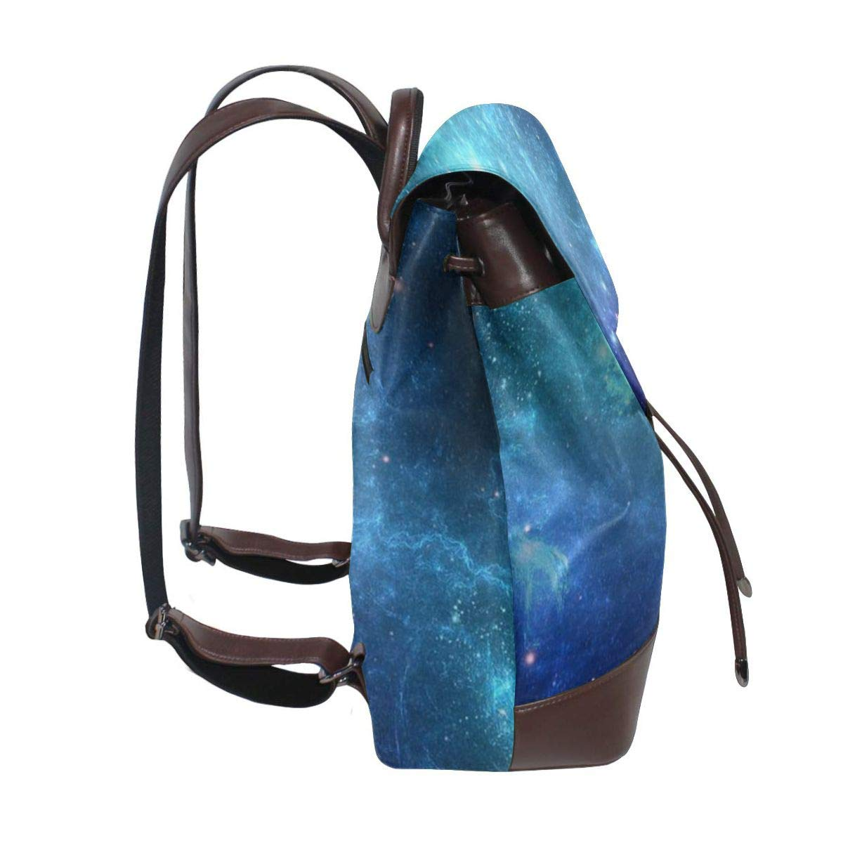Blue Sky Galaxy Nebula Womens Leather Backpack Travel Casual Elegant Drawstring Shoulder Bag