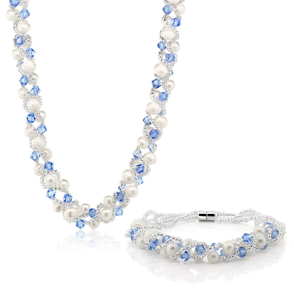 Gem Stone King 17 Inch White Cultured Freshwater Pearl & Blue Crystal Mash Necklace + Bracelet 6.5 Inch by Gem Stone King
