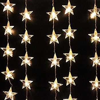 50 bulb solar powered star shaped string for Decor star 005 ss