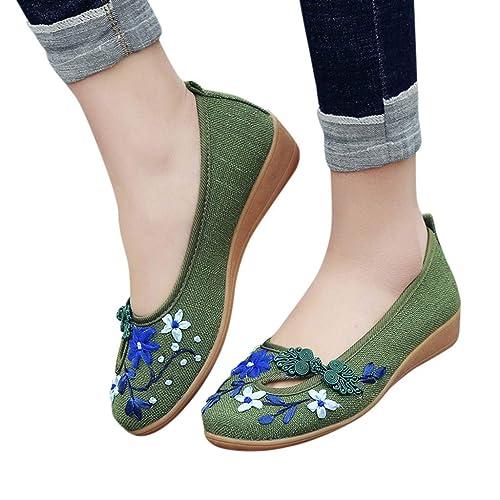 Btruely Mocasines Verano Mujer Zapatos de Lona Ocasionales Sandalias Mujer Chanclas Plataforma Bohemias Elegantes Zapatos Verano con Cuña: Amazon.es: ...