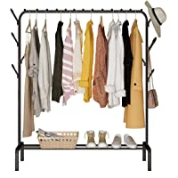 Garment Cloth Rack Clothes Hanger Stand Clothes Dryer Rail with 8pcs Branch Hook Bottom Storage 110cm Length Large Space…