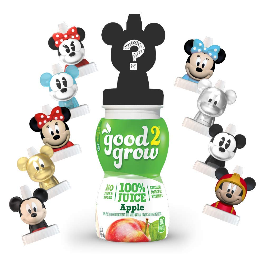 good2grow Mickey/Minnie Collector Pack 100% Apple Juice, 6-pack of 6-Ounce Spill Proof Character Top Bottles, Non-GMO with no Sugar Added and Excellent Source of Vitamin C (Character Tops May Vary)
