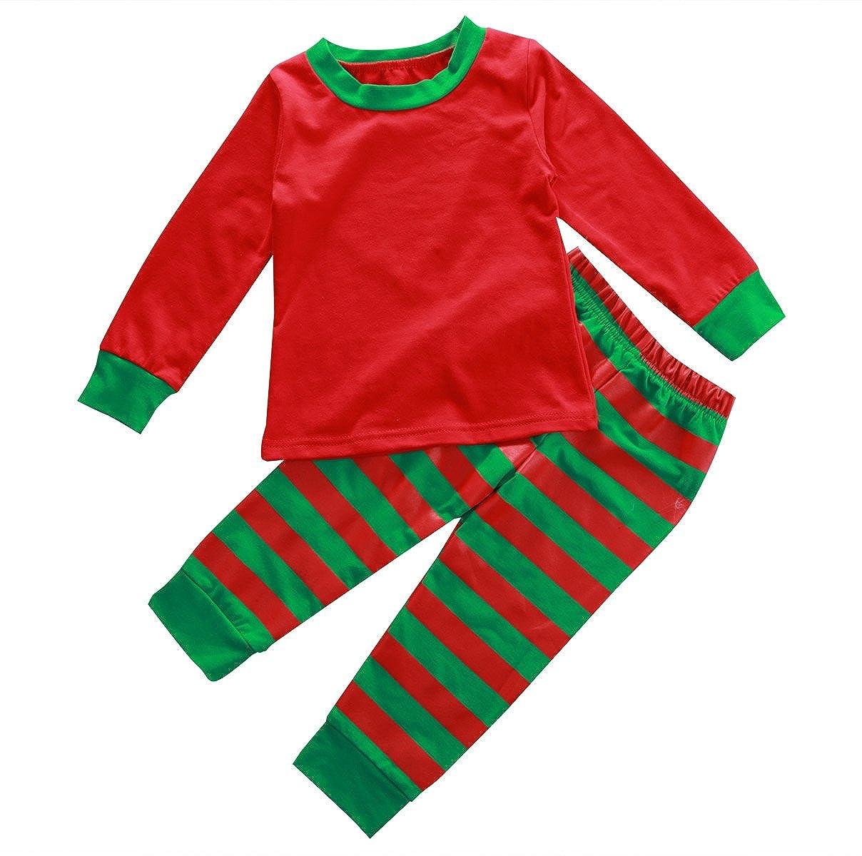 Little Boys Girls Long Sleeve Stripe Top and Pants Christmas Pajamas Set