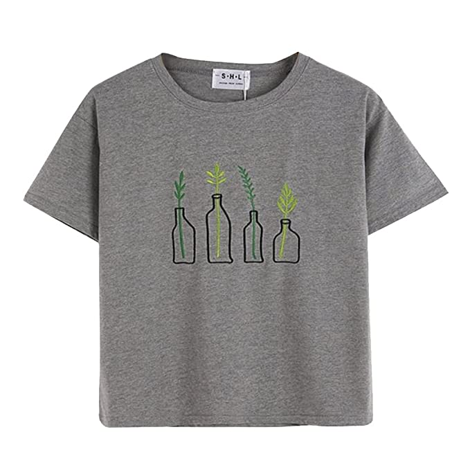 Dorathy Womens T-Shirt Plant In Bottle Print Cotton Gray Vest Kawaii Crop  Top at Amazon Women s Clothing store  e9c12f35a