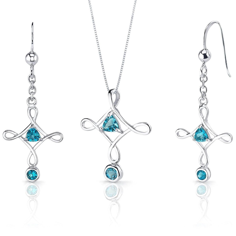 Swiss Blue Topaz Pendant Earrings Cross Necklace Sterling Silver Rhodium Nickel Finish 1.50 Carats