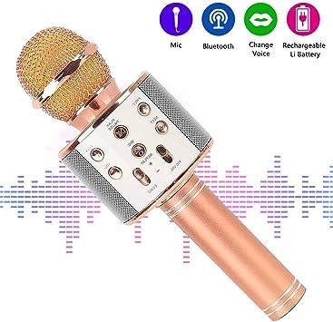 Micrófono Inalámbrico Bluetooth, Micrófono Portátil Karaoke con ...