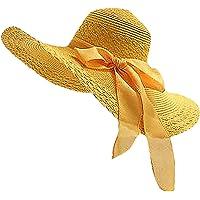 STRIR Sombrero de Paja para Mujer de ala Ancha Pamelas Playa Plegable Sombrero de Verano Playa Vacaciones