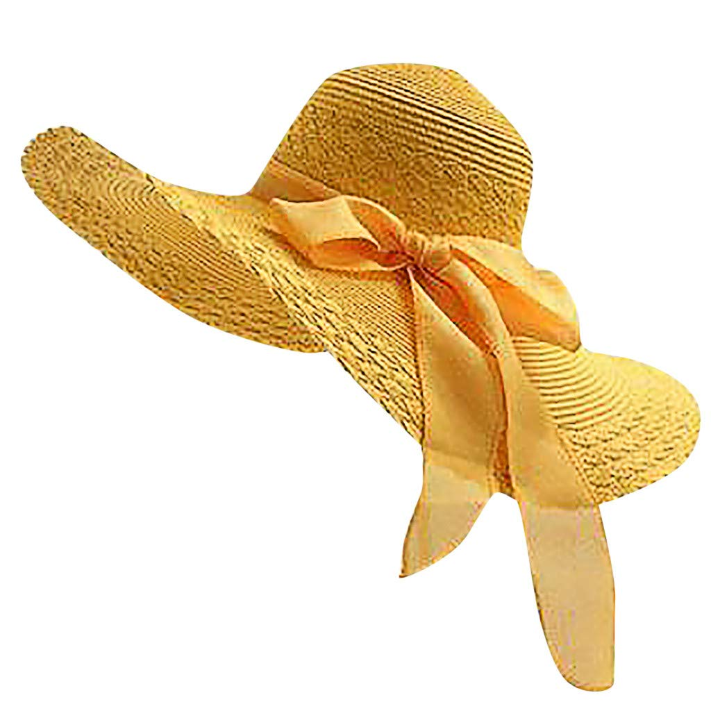 NRUTUP Women Colorful Big Brim Straw Bow Hat Sun Floppy Wide Brim Hats Beach Cap Yellow,Free Size