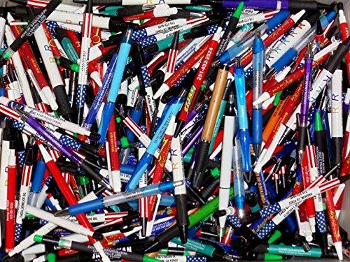 Wholesale Lot of 50 Misprint Ink Pens Ball Point Plastic Retractable Pens Mixed