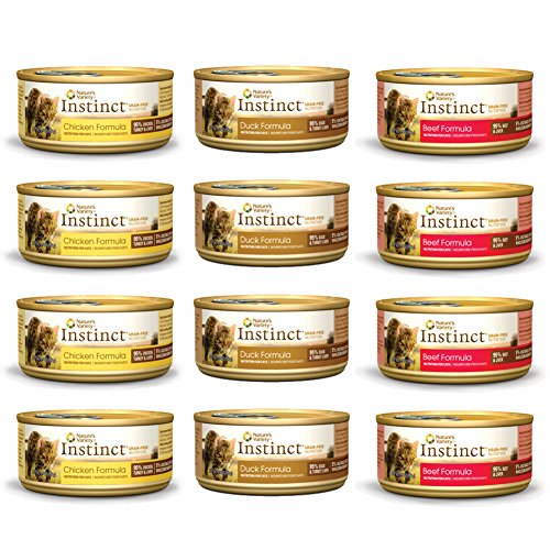 Nature's Variety Instinct Grain Free Canned Wet Cat Food Variety Pack – 5.5 Ounces – 3 Flavors – Chicken, Beef, and Duck (12 Total Cans) Review
