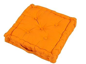 Homescapes Coussin de Chaise de couleur Orange fait en 100 % Coton ...