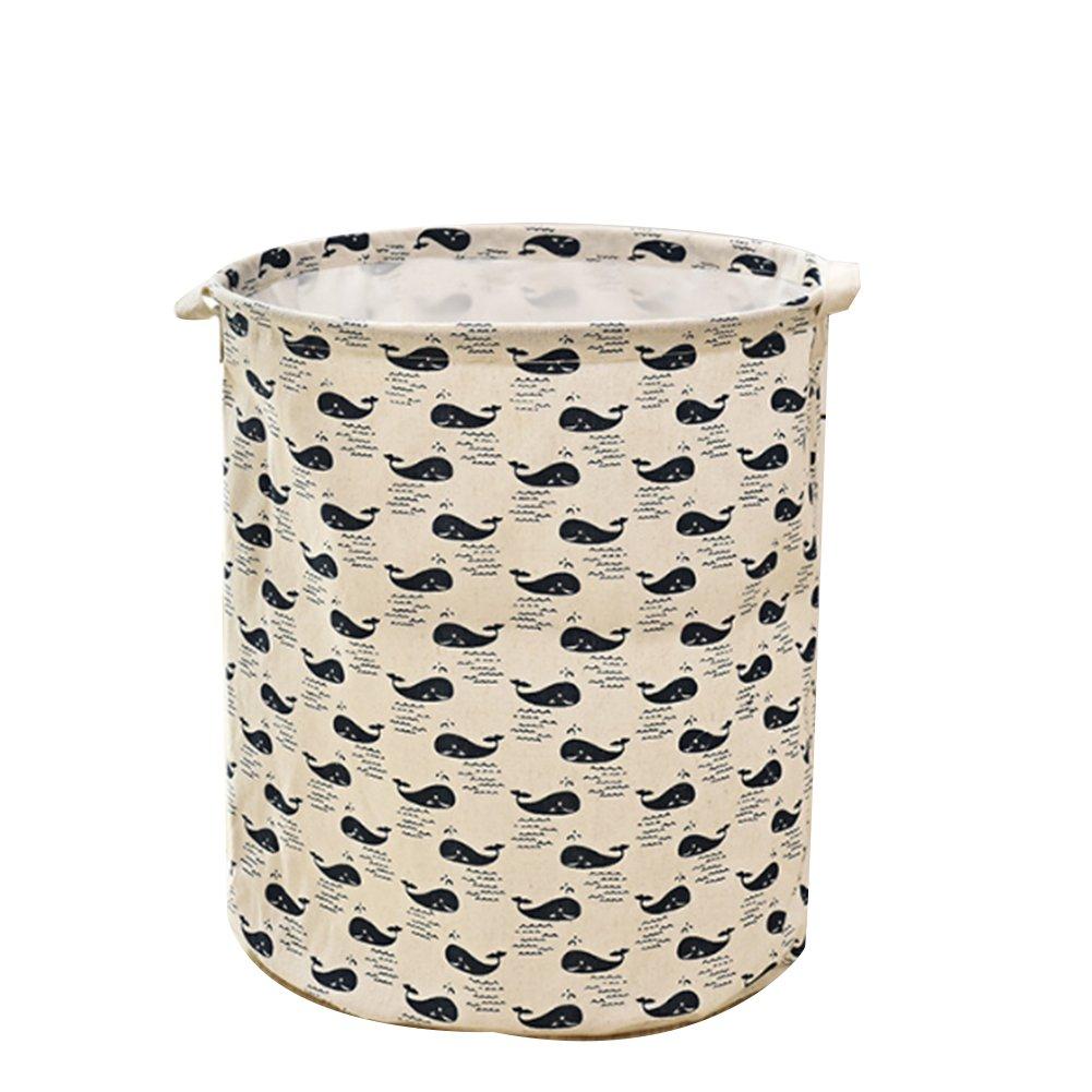 TrifyCore cesto portaoggetti pieghevole Portatile da Il bucato con il mensola Tondo Il bucato della borsa del archiviazione della Maniglia (balena)