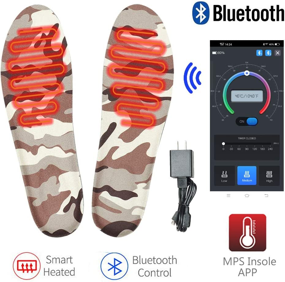MANTUOLE Rechargeable Smart Heated Insoles. Control Remotely with Bluetooth Enabled Smartphone app. Works up to 7+Hours. Great for Skiing, Hunting, Hiking, Camping, or Outdoor Sports Size XL