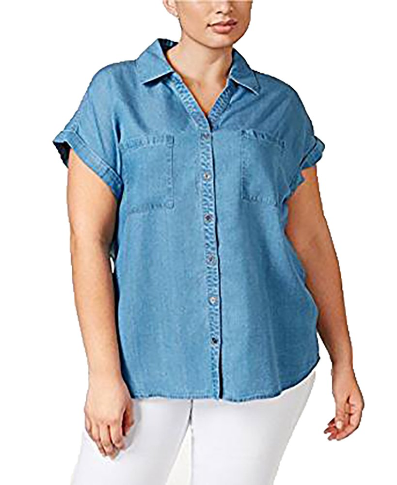 Style & Co. Plus Size Short-Sleeve Denim Shirt (1X, Denim) by Style & Co.