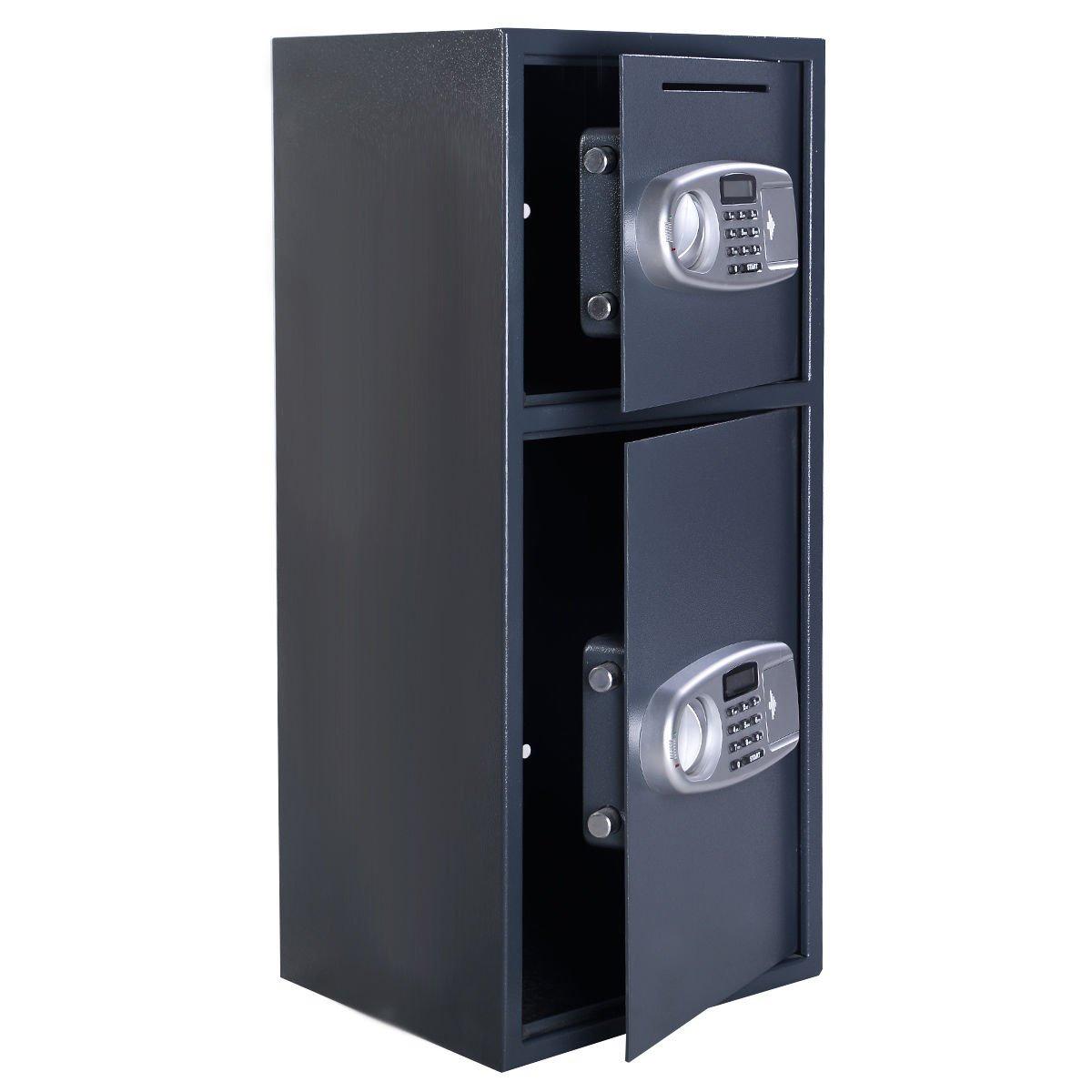 Double Door Digital Safe Depository Drop Box Safes Cash Office Security Lock (Brand New)