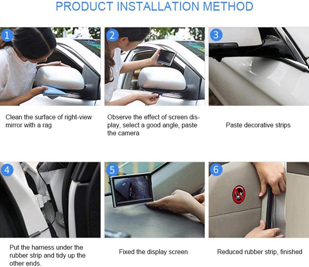 6 Layers of Glass Lens and NO Drilling Installation IP67 Waterproof Volwco Car HD Blind Spot Side View Camera Night Vision 360 Degree Front Reverse Camera with Auto-dimming LED