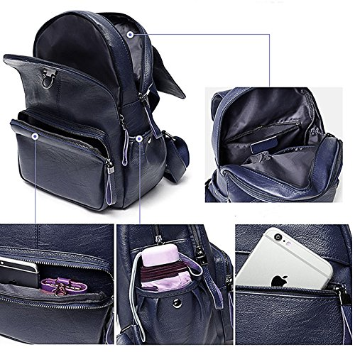 Girls Backpack Backpack for Blue Leather Casual Satchel Travel Shoulder Ladies Fanshu Purse School Women Bag Bag Red Hnx56g