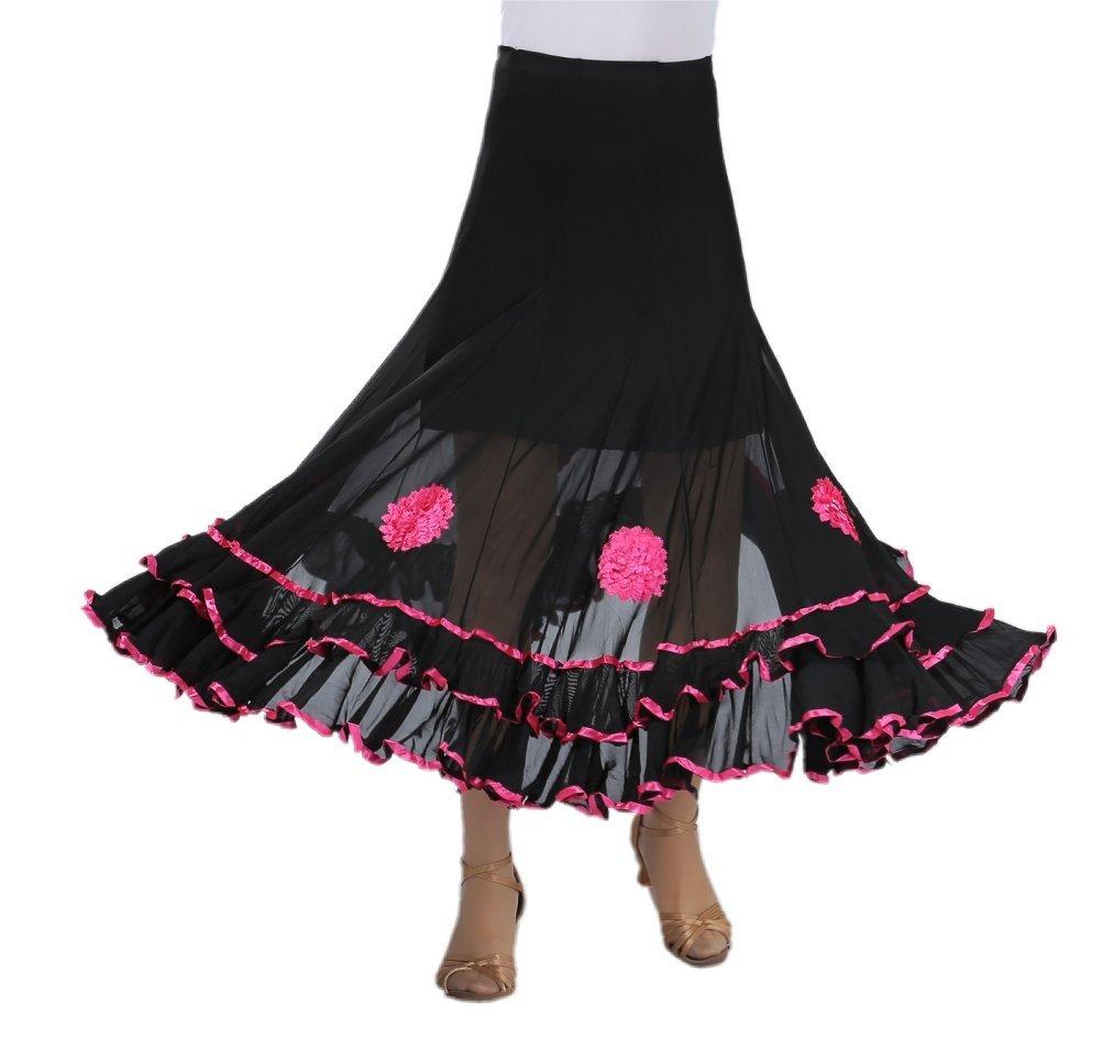 CISMARK Womens Ballroom Dancing Latin Dance Salsa Tango Swing Skirt 001Pink One Size by CISMARK